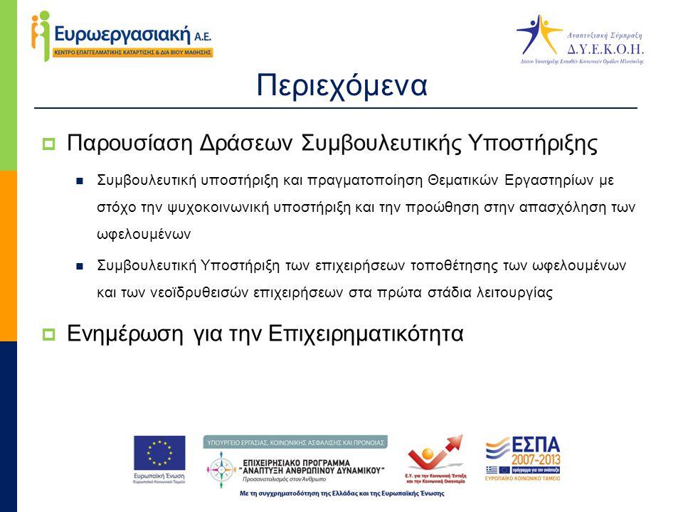 Περιεχόμενα  Παρουσίαση Δράσεων Συμβουλευτικής Υποστήριξης  Συμβουλευτική υποστήριξη και πραγματοποίηση Θεματικών Εργαστηρίων με στόχο την ψυχοκοινωνική υποστήριξη και την προώθηση στην απασχόληση των ωφελουμένων  Συμβουλευτική Υποστήριξη των επιχειρήσεων τοποθέτησης των ωφελουμένων και των νεοϊδρυθεισών επιχειρήσεων στα πρώτα στάδια λειτουργίας  Ενημέρωση για την Επιχειρηματικότητα