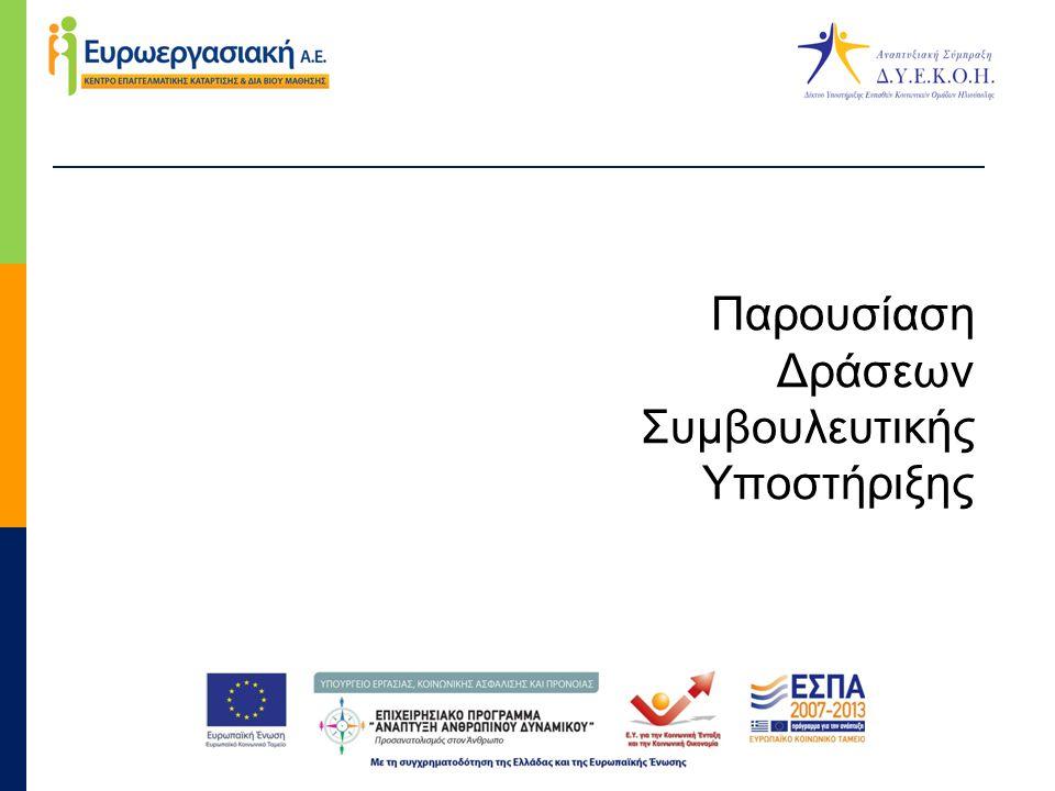 Συμβουλευτική υποστήριξη και υλοποίηση Θεματικών Εργαστηρίων με στόχο την ψυχοκοινωνική υποστήριξη και την προώθηση στην απασχόληση των ωφελουμένων  Σύντομη περιγραφή: Συμβουλευτική ψυχοκοινωνική υποστήριξη για την ενδυνάμωση 80 ωφελούμενων του Σχεδίου Δράσης, με σκοπό την επίλυση προηγούμενων σημαντικών κοινωνικών, ψυχολογικών, νομικών και κοινωνικών προβλημάτων.