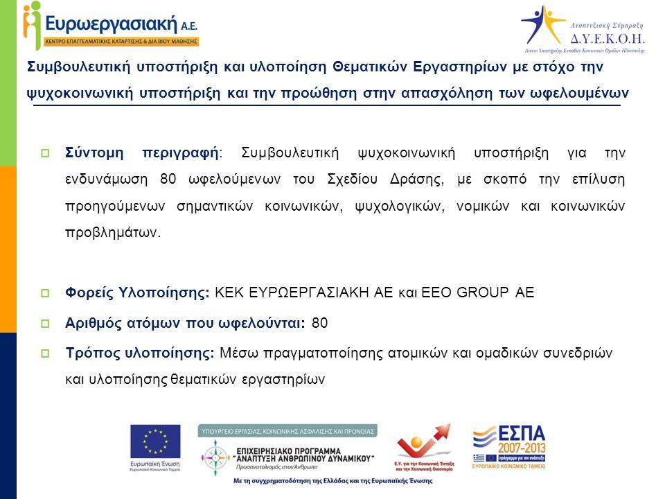 Συμβουλευτική υποστήριξη και υλοποίηση Θεματικών Εργαστηρίων με στόχο την ψυχοκοινωνική υποστήριξη και την προώθηση στην απασχόληση των ωφελουμένων  Μεθοδολογία υλοποίησης - Συνεδρίες:  Ατομικές συνεδρίες με στόχο αρχικά την καταγραφή και στη συνέχεια την επίλυση προσωπικών αιτημάτων των ωφελουμένων  Συνεδρίες οικογενειακής συμβουλευτικής με στόχο την καταγραφή των αναγκών και των εκκρεμοτήτων της οικογένειας του κάθε ωφελούμενου  Ατομικές και ομαδικές συνεδρίες επαγγελματικού προσανατολισμού με στόχο την απόκτηση ικανότητας αναζήτησης και κριτικού ελέγχου των επαγγελματικών πληροφοριών, ώστε να επιτευχθεί η ένταξη στην αγορά εργασίας  Ατομικές συνεδρίες με αντικείμενο τον σχεδιασμό Ατομικού Σχεδίου Δράσης για την απασχόληση των ωφελουμένων  Διασύνδεση ωφελουμένων και επιχειρήσεων  Νομική υποστήριξη
