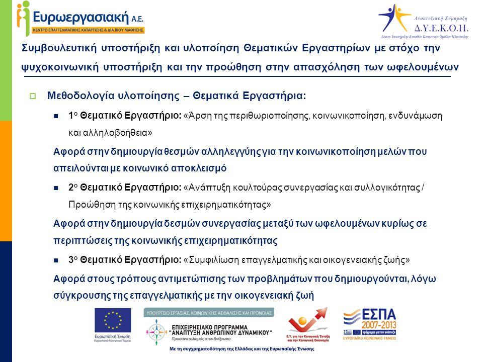 Συμβουλευτική υποστήριξη και υλοποίηση Θεματικών Εργαστηρίων με στόχο την ψυχοκοινωνική υποστήριξη και την προώθηση στην απασχόληση των ωφελουμένων  Μεθοδολογία υλοποίησης – Θεματικά Εργαστήρια:  1 ο Θεματικό Εργαστήριο: «Άρση της περιθωριοποίησης, κοινωνικοποίηση, ενδυνάμωση και αλληλοβοήθεια» Αφορά στην δημιουργία θεσμών αλληλεγγύης για την κοινωνικοποίηση μελών που απειλούνται με κοινωνικό αποκλεισμό  2 ο Θεματικό Εργαστήριο: «Ανάπτυξη κουλτούρας συνεργασίας και συλλογικότητας / Προώθηση της κοινωνικής επιχειρηματικότητας» Αφορά στην δημιουργία δεσμών συνεργασίας μεταξύ των ωφελουμένων κυρίως σε περιπτώσεις της κοινωνικής επιχειρηματικότητας  3 ο Θεματικό Εργαστήριο: «Συμφιλίωση επαγγελματικής και οικογενειακής ζωής» Αφορά στους τρόπους αντιμετώπισης των προβλημάτων που δημιουργούνται, λόγω σύγκρουσης της επαγγελματικής με την οικογενειακή ζωή