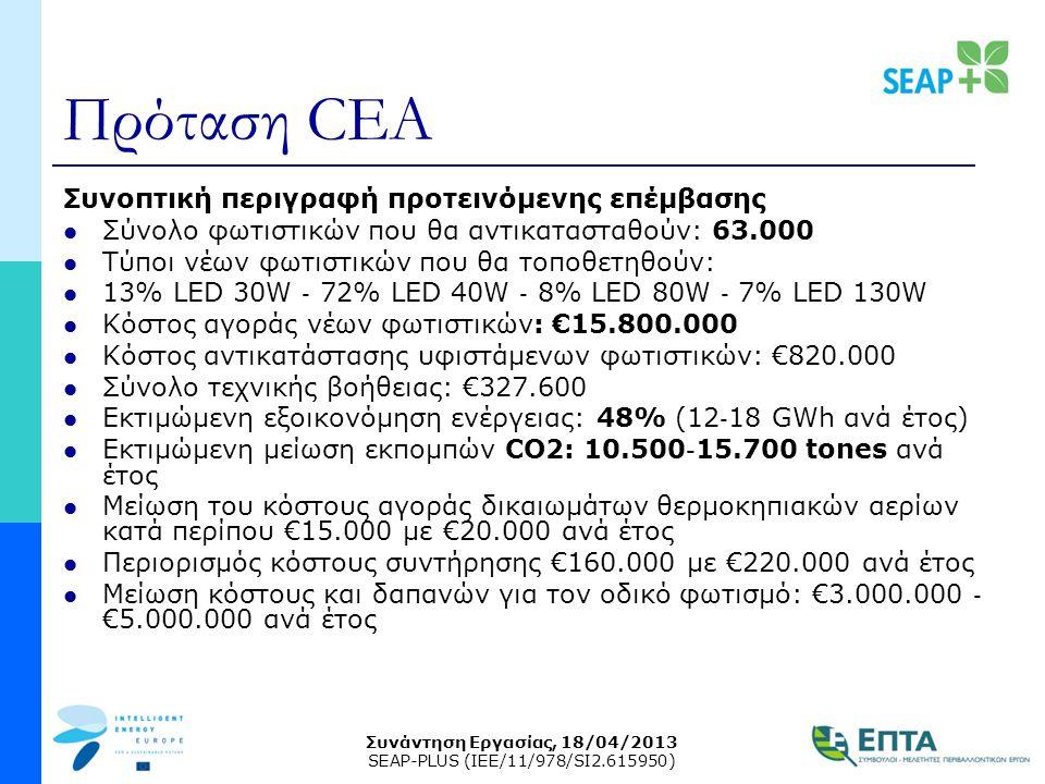 Συνάντηση Εργασίας, 18/04/2013 SEAP-PLUS (IEE/11/978/SI2.615950) Πρόταση CEA Συνοπτική περιγραφή προτεινόμενης επέμβασης  Σύνολο φωτιστικών που θα αν