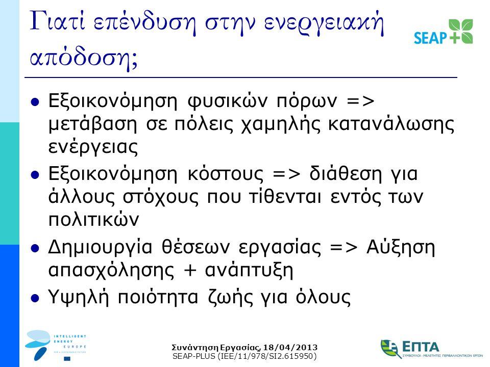 Συνάντηση Εργασίας, 18/04/2013 SEAP-PLUS (IEE/11/978/SI2.615950) Γιατί επένδυση στην ενεργειακή απόδοση;  Εξοικονόμηση φυσικών πόρων => μετάβαση σε π