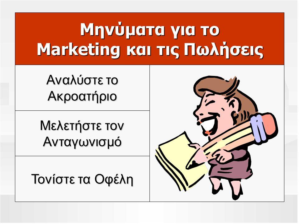 Μηνύματα για το Marketing και τις Πωλήσεις Μελετήστε τον Ανταγωνισμό Τονίστε τα Οφέλη Αναλύστε το Ακροατήριο