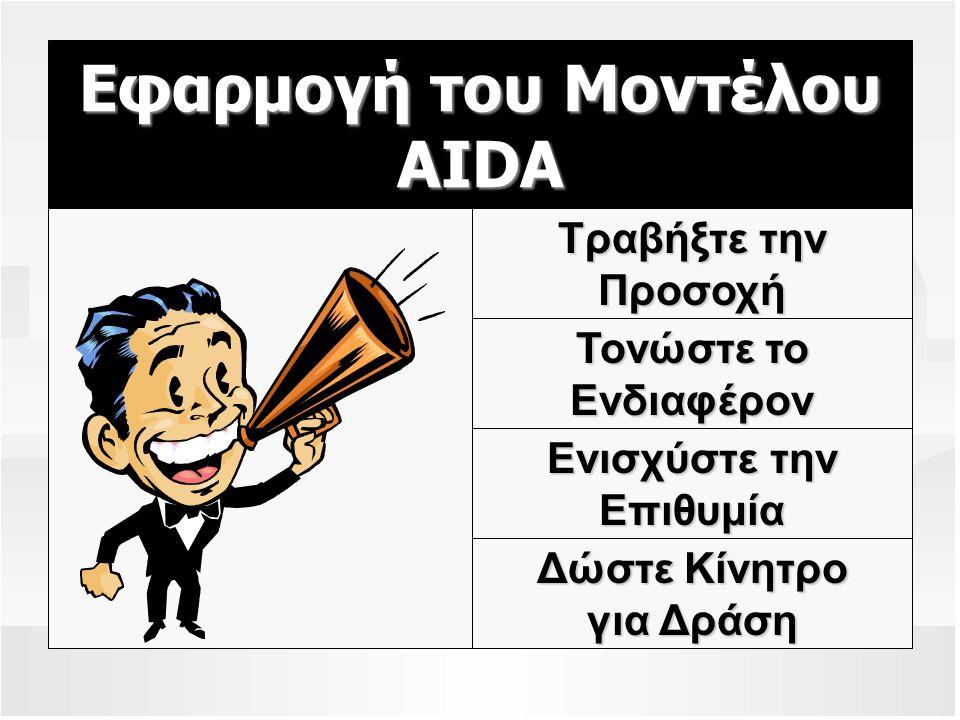 Εφαρμογή του Μοντέλου AIDA Τραβήξτε την Προσοχή Τονώστε το Ενδιαφέρον Ενισχύστε την Επιθυμία Δώστε Κίνητρο για Δράση