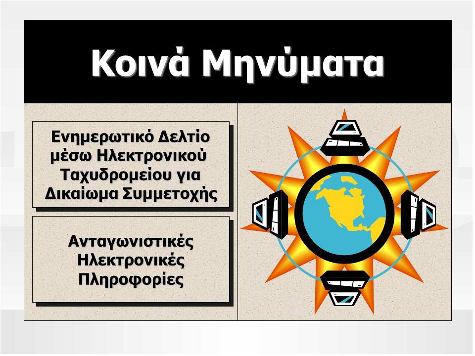 Κοινά Μηνύματα Ενημερωτικό Δελτίο μέσω Ηλεκτρονικού Ταχυδρομείου για Δικαίωμα Συμμετοχής Ανταγωνιστικές Ηλεκτρονικές Πληροφορίες