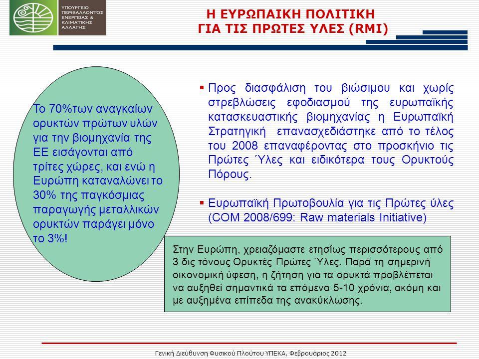 Γενική Διεύθυνση Φυσικού Πλούτου ΥΠΕΚΑ, Φεβρουάριος 2012 Η ΕΥΡΩΠΑΙΚΗ ΠΟΛΙΤΙΚΗ ΓΙΑ ΤΙΣ ΠΡΩΤΕΣ ΥΛΕΣ (RMI)  Προς διασφάλιση του βιώσιμου και χωρίς στρεβλώσεις εφοδιασμού της ευρωπαϊκής κατασκευαστικής βιομηχανίας η Ευρωπαϊκή Στρατηγική επανασχεδιάστηκε από το τέλος του 2008 επαναφέροντας στο προσκήνιο τις Πρώτες Ύλες και ειδικότερα τους Ορυκτούς Πόρους.