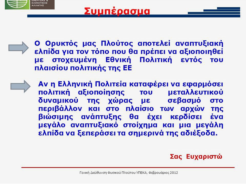 Γενική Διεύθυνση Φυσικού Πλούτου ΥΠΕΚΑ, Φεβρουάριος 2012 Συμπέρασμα Αν η Ελληνική Πολιτεία καταφέρει να εφαρμόσει πολιτική αξιοποίησης του μεταλλευτικού δυναμικού της χώρας με σεβασμό στο περιβάλλον και στο πλαίσιο των αρχών της βιώσιμης ανάπτυξης θα έχει κερδίσει ένα μεγάλο αναπτυξιακό στοίχημα και μια μεγάλη ελπίδα να ξεπεράσει τα σημερινά της αδιέξοδα.