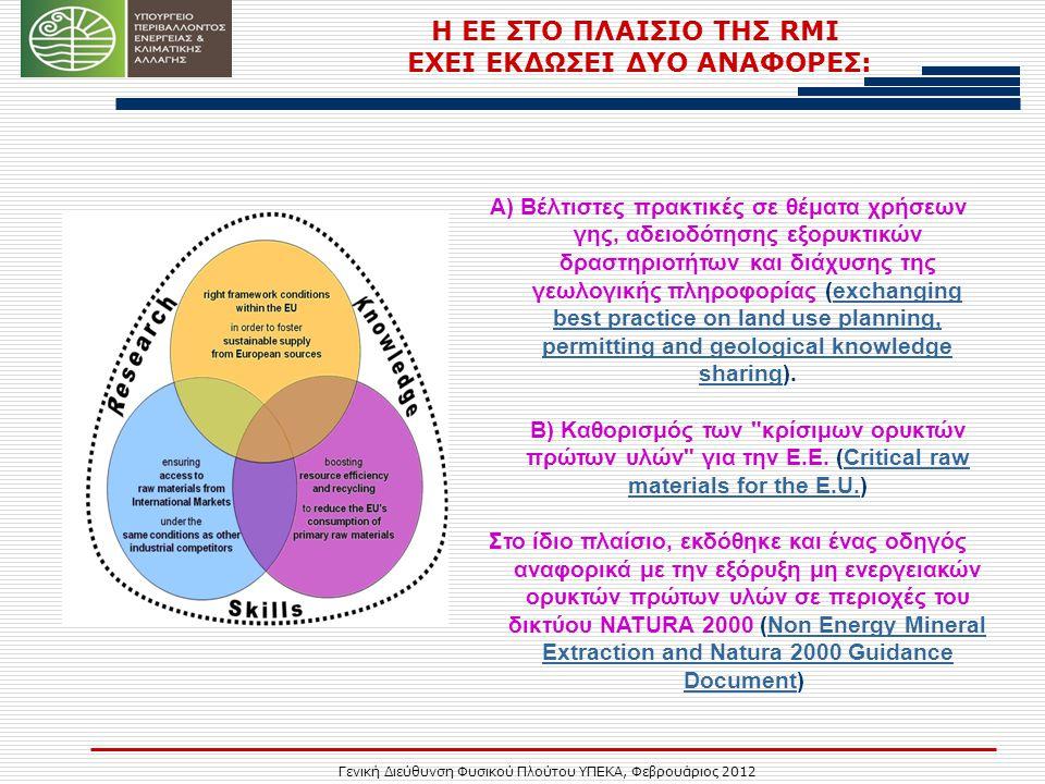 Γενική Διεύθυνση Φυσικού Πλούτου ΥΠΕΚΑ, Φεβρουάριος 2012 Η ΕΕ ΣΤΟ ΠΛΑΙΣΙΟ ΤΗΣ RMI ΕΧΕΙ ΕΚΔΩΣΕΙ ΔΥΟ ΑΝΑΦΟΡΕΣ: Α) Βέλτιστες πρακτικές σε θέματα χρήσεων γης, αδειοδότησης εξορυκτικών δραστηριοτήτων και διάχυσης της γεωλογικής πληροφορίας (exchanging best practice on land use planning, permitting and geological knowledge sharing).