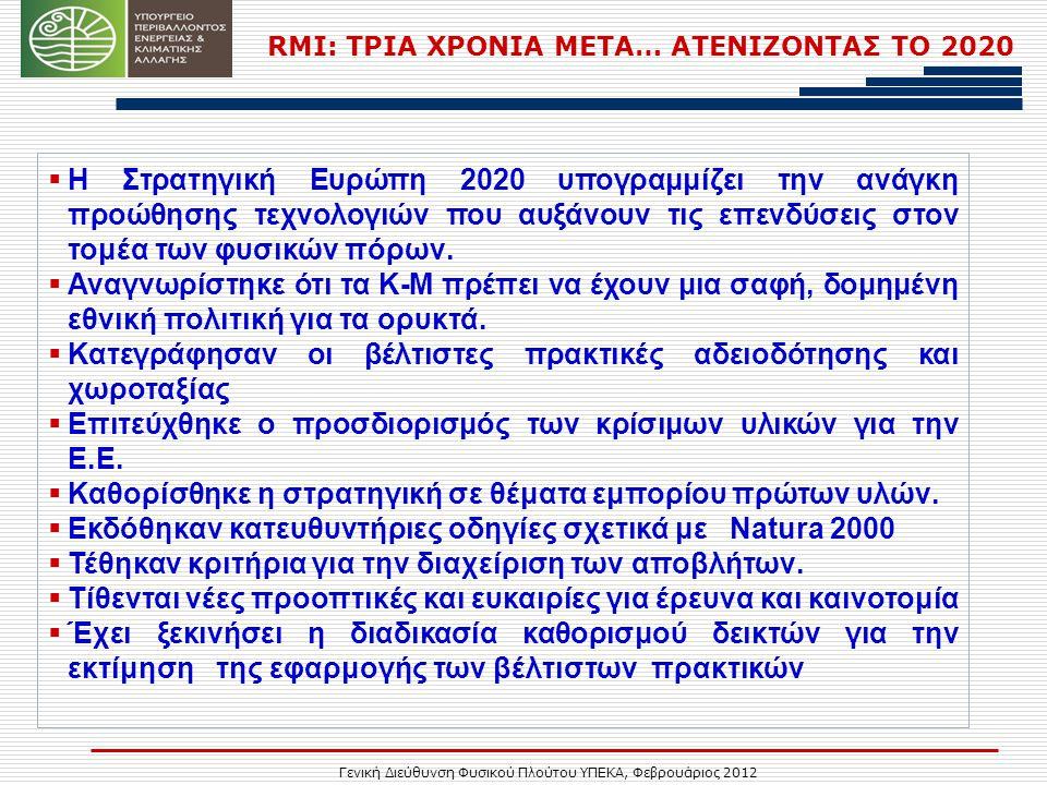 Γενική Διεύθυνση Φυσικού Πλούτου ΥΠΕΚΑ, Φεβρουάριος 2012 RMI: ΤΡΙΑ ΧΡΟΝΙΑ ΜΕΤΑ… ΑΤΕΝΙΖΟΝΤΑΣ ΤΟ 2020  Η Στρατηγική Ευρώπη 2020 υπογραμμίζει την ανάγκη προώθησης τεχνολογιών που αυξάνουν τις επενδύσεις στον τομέα των φυσικών πόρων.