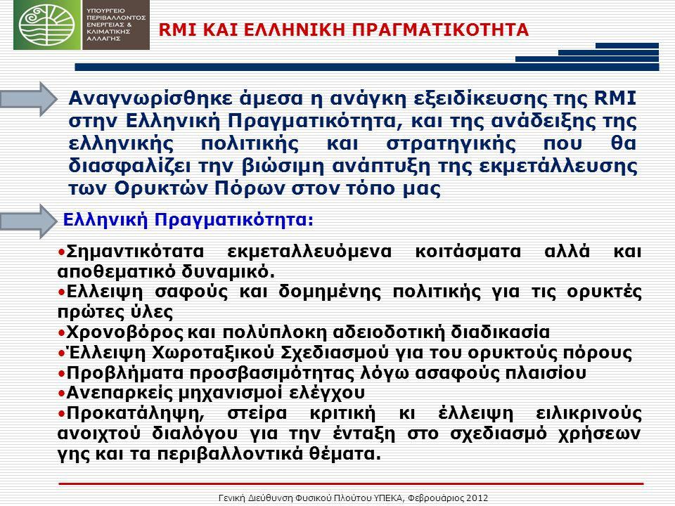 Γενική Διεύθυνση Φυσικού Πλούτου ΥΠΕΚΑ, Φεβρουάριος 2012 RMI ΚΑΙ ΕΛΛΗΝΙΚΗ ΠΡΑΓΜΑΤΙΚΟΤΗΤΑ Αναγνωρίσθηκε άμεσα η ανάγκη εξειδίκευσης της RMI στην Ελληνική Πραγματικότητα, και της ανάδειξης της ελληνικής πολιτικής και στρατηγικής που θα διασφαλίζει την βιώσιμη ανάπτυξη της εκμετάλλευσης των Ορυκτών Πόρων στον τόπο μας •Σημαντικότατα εκμεταλλευόμενα κοιτάσματα αλλά και αποθεματικό δυναμικό.