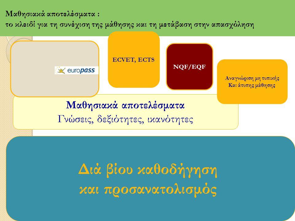 το ECVET βασίζεται σε έννοιες και διαδικασίες οι οποίες χρησιμοποιούνται με έναν συστηματικό τρόπο για τη δημιουργία ενός κοινά αποδεκτού και διαφανούς τρόπου μεταφοράς πιστωτικών μονάδων (credits) και αναγνώρισης των μαθησιακών αποτελεσμάτων (recognition of learning outcomes) στο χώρο της Επαγγελματικής Εκπαίδευσης και Κατάρτισης στην Ευρώπη.