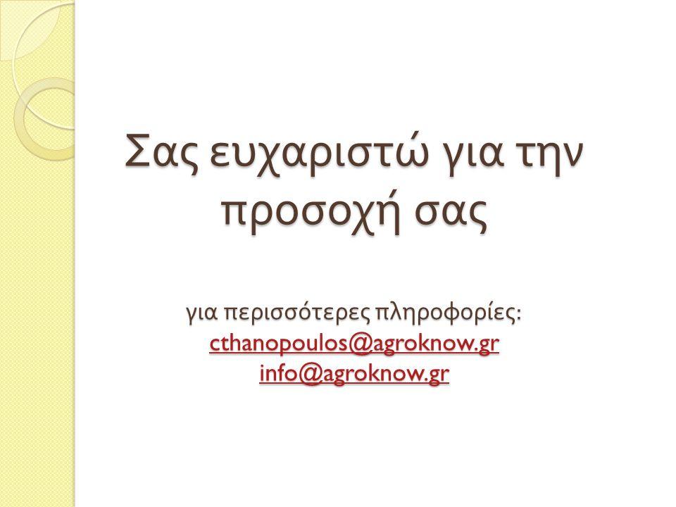 Σας ευχαριστώ για την προσοχή σας για περισσότερες πληροφορίες : cthanopoulos@agroknow.gr info@agroknow.gr cthanopoulos@agroknow.gr info@agroknow.gr cthanopoulos@agroknow.gr info@agroknow.gr