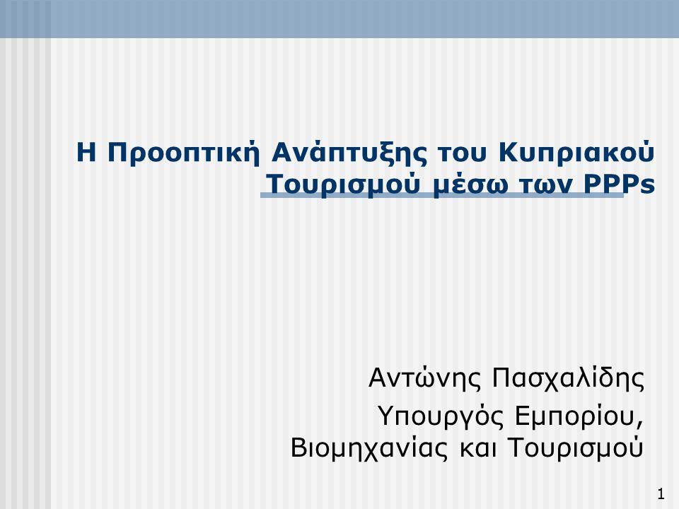 Μορφές ΣΔΙΤ στον τουριστικό τομέα στην Κύπρο 1 12 Συνήθεις μορφές Συμπράξεων για στήριξη της ανάπτυξης έργων και υπηρεσιών τουριστικού περιεχομένου: Μέθοδος ΒΟΤ (Build – Operate – Transfer)  Ελκυστική από μέρους του Δημόσιου τομέα.