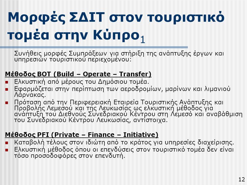 Μορφές ΣΔΙΤ στον τουριστικό τομέα στην Κύπρο 1 12 Συνήθεις μορφές Συμπράξεων για στήριξη της ανάπτυξης έργων και υπηρεσιών τουριστικού περιεχομένου: Μ