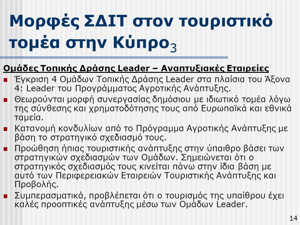 Μορφές ΣΔΙΤ στον τουριστικό τομέα στην Κύπρο 3 1414 Ομάδες Τοπικής Δράσης Leader – Αναπτυξιακές Εταιρείες  Έγκριση 4 Ομάδων Τοπικής Δράσης Leader στα