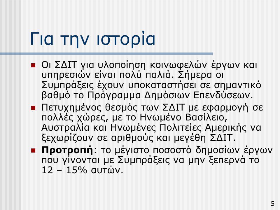Σήμερα  Στην Κύπρο: Πρόσφατη προσπάθεια υλοποίησης έργων του Δημοσίου με τη μορφή των ΣΔΙΤ,  Παραδείγματα: Ολοκλήρωση αεροδρομίων και κάποιων δημόσιων κτιρίων, Προώθηση κατασκευής και διαχείρισης των μαρίνων, του λιμανιού Λάρνακας, υπεραστικών δρόμων, κ.α.