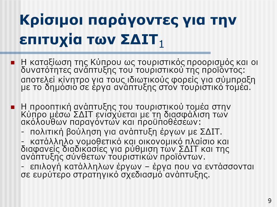 Κρίσιμοι παράγοντες για την επιτυχία των ΣΔΙΤ 1  Η καταξίωση της Κύπρου ως τουριστικός προορισμός και οι δυνατότητες ανάπτυξης του τουριστικού της πρ