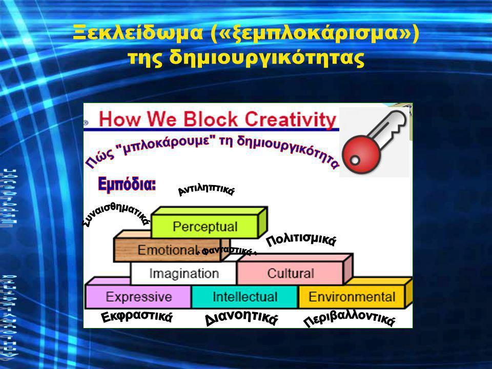 Ξεκλείδωμα της δημιουργικότητας •Από την τυποποίηση στην ποίηση •Από την πολυπλοκότητα στην απλότητα •Από την υποβάθμιση στην αναβάθμιση