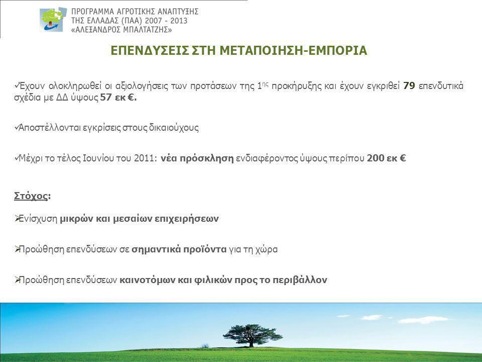 ΕΠΕΝΔΥΣΕΙΣ ΣΤΗ ΜΕΤΑΠΟΙΗΣΗ-ΕΜΠΟΡΙΑ  Έχουν ολοκληρωθεί οι αξιολογήσεις των προτάσεων της 1 ης προκήρυξης και έχουν εγκριθεί 79 επενδυτικά σχέδια με ΔΔ ύψους 57 εκ €.