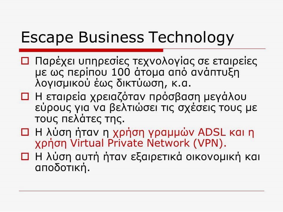 Escape Business Technology  Παρέχει υπηρεσίες τεχνολογίας σε εταιρείες με ως περίπου 100 άτομα από ανάπτυξη λογισμικού έως δικτύωση, κ.α.  Η εταιρεί