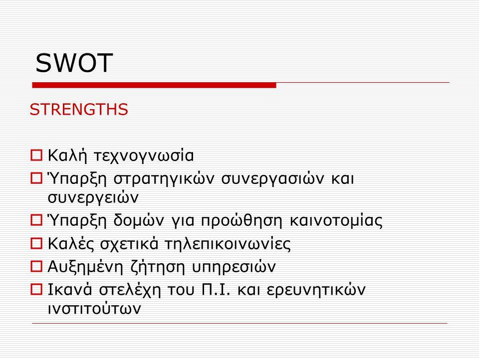 SWOT STRENGTHS  Καλή τεχνογνωσία  Ύπαρξη στρατηγικών συνεργασιών και συνεργειών  Ύπαρξη δομών για προώθηση καινοτομίας  Καλές σχετικά τηλεπικοινων