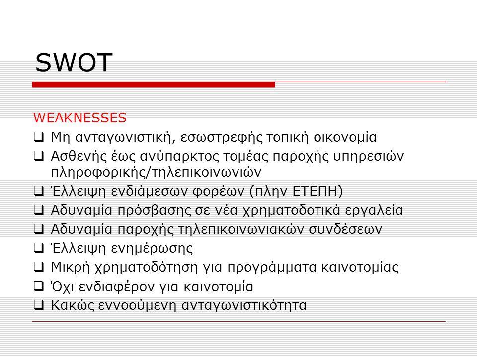 SWOT WEAKNESSES  Μη ανταγωνιστική, εσωστρεφής τοπική οικονομία  Ασθενής έως ανύπαρκτος τομέας παροχής υπηρεσιών πληροφορικής/τηλεπικοινωνιών  Έλλει