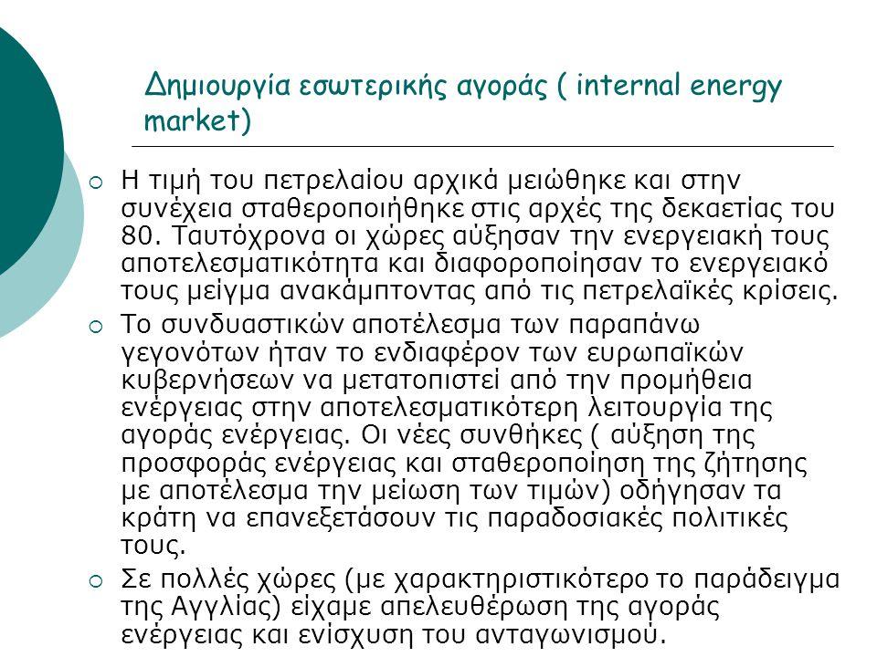 Δημιουργία εσωτερικής αγοράς ( internal energy market)  Η τιμή του πετρελαίου αρχικά μειώθηκε και στην συνέχεια σταθεροποιήθηκε στις αρχές της δεκαετίας του 80.