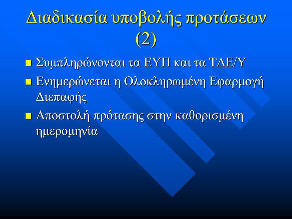 Διαδικασία υποβολής προτάσεων (2)  Συμπληρώνονται τα ΕΥΠ και τα ΤΔΕ/Υ  Ενημερώνεται η Ολοκληρωμένη Εφαρμογή Διεπαφής  Αποστολή πρότασης στην καθορισμένη ημερομηνία