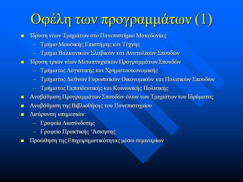 Οφέλη των προγραμμάτων (1)  Ίδρυση νέων Τμημάτων στο Πανεπιστήμιο Μακεδονίας –Τμήμα Μουσικής Επιστήμης και Τέχνης –Τμήμα Βαλκανικών Σλαβικών και Ανατολικών Σπουδών  Ίδρυση τριών νέων Μεταπτυχιακών Προγραμμάτων Σπουδών –Τμήματος Λογιστικής και Χρηματοοικονομικής –Τμήματος Διεθνών Ευρωπαϊκών Οικονομικών και Πολιτικών Σπουδών –Τμήματος Εκπαιδευτικής και Κοινωνικής Πολιτικής  Αναβάθμιση Προγραμμάτων Σπουδών όλων των Τμημάτων του Ιδρύματος  Αναβάθμιση της Βιβλιοθήκης του Πανεπιστημίου  Διεύρυνση υπηρεσιών: –Γραφεία Διασύνδεσης –Γραφείο Πρακτικής 'Άσκησης  Προώθηση της Επιχειρηματικότητας μέσω σεμιναρίων