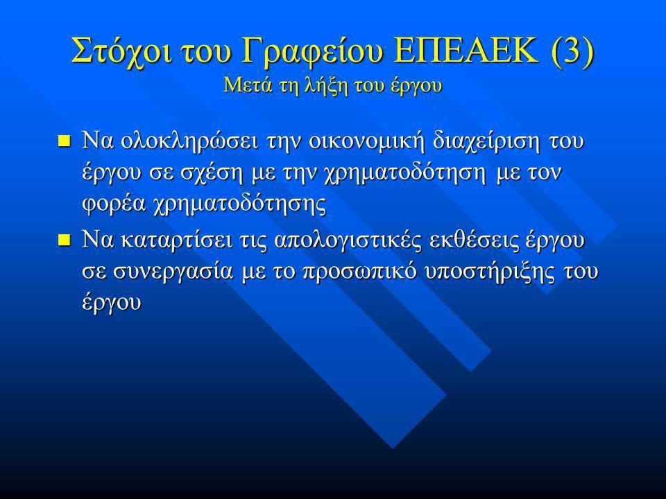 Στόχοι του Γραφείου ΕΠΕΑΕΚ (3) Μετά τη λήξη του έργου  Να ολοκληρώσει την οικονομική διαχείριση του έργου σε σχέση με την χρηματοδότηση με τον φορέα χρηματοδότησης  Να καταρτίσει τις απολογιστικές εκθέσεις έργου σε συνεργασία με το προσωπικό υποστήριξης του έργου