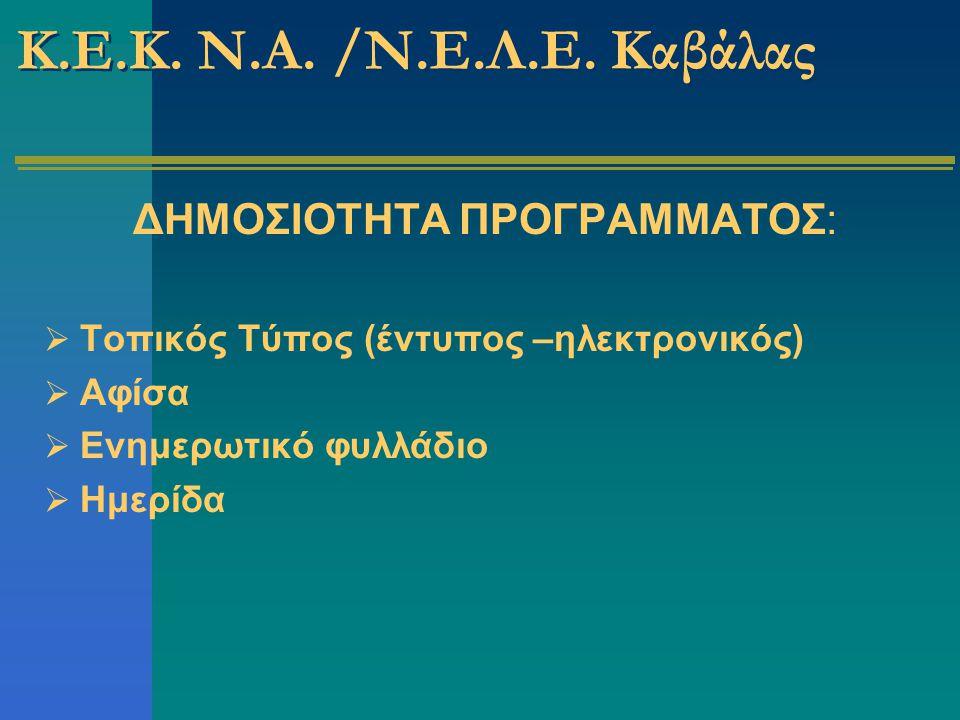 ΔΗΜΟΣΙΟΤΗΤΑ ΠΡΟΓΡΑΜΜΑΤΟΣ:  Τοπικός Τύπος (έντυπος –ηλεκτρονικός)  Αφίσα  Ενημερωτικό φυλλάδιο  Ημερίδα