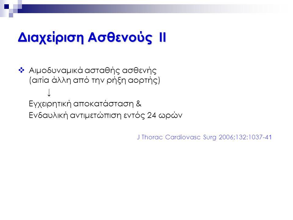  Αιμοδυναμικά ασταθής ασθενής (αιτία άλλη από την ρήξη αορτής) ↓ Εγχειρητική αποκατάσταση & Ενδαυλική αντιμετώπιση εντός 24 ωρών J Thorac Cardiovasc