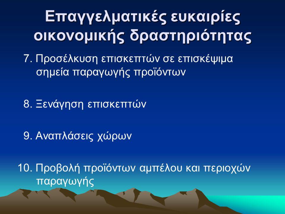 Επαγγελματικές ευκαιρίες οικονομικής δραστηριότητας 7.