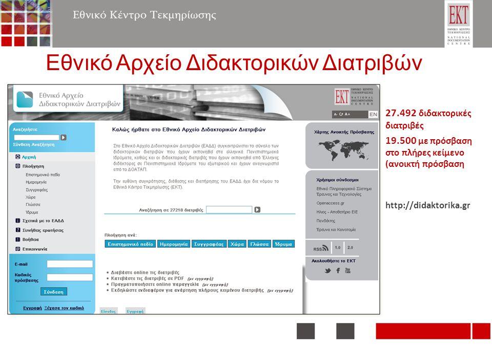 Εθνικό Αρχείο Διδακτορικών Διατριβών 27.492 διδακτορικές διατριβές 19.500 με πρόσβαση στο πλήρες κείμενο (ανοικτή πρόσβαση http://didaktorika.gr