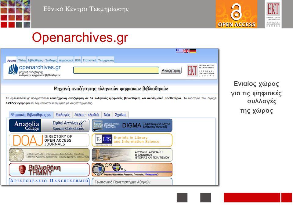 Openarchives.gr Ενιαίος χώρος για τις ψηφιακές συλλογές της χώρας