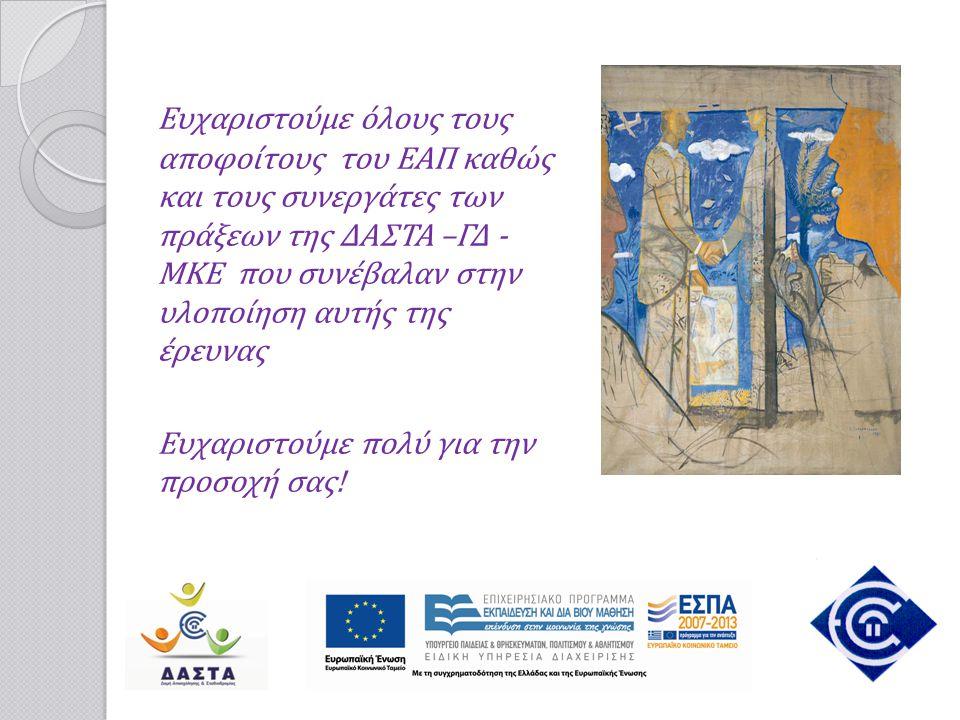 Ευχαριστούμε όλους τους αποφοίτους του ΕΑΠ καθώς και τους συνεργάτες των πράξεων της ΔΑΣΤΑ –ΓΔ - ΜΚΕ που συνέβαλαν στην υλοποίηση αυτής της έρευνας Ευ