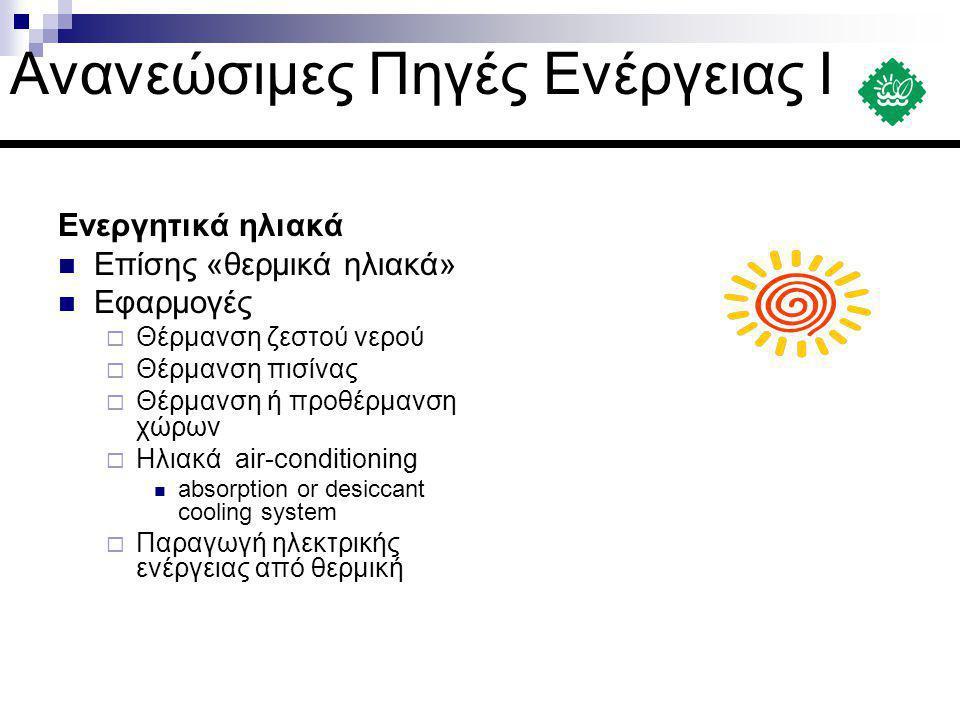 Ενεργητικά ηλιακά  Επίσης «θερμικά ηλιακά»  Εφαρμογές  Θέρμανση ζεστού νερού  Θέρμανση πισίνας  Θέρμανση ή προθέρμανση χώρων  Ηλιακά air-conditi