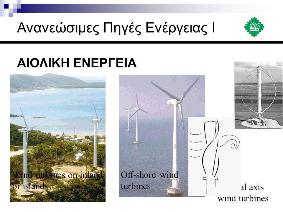ΑΙΟΛΙΚΗ ΕΝΕΡΓΕΙΑ Off-shore wind turbines Wind turbines on inland or islands Vertical axis wind turbines Ανανεώσιμες Πηγές Ενέργειας Ι