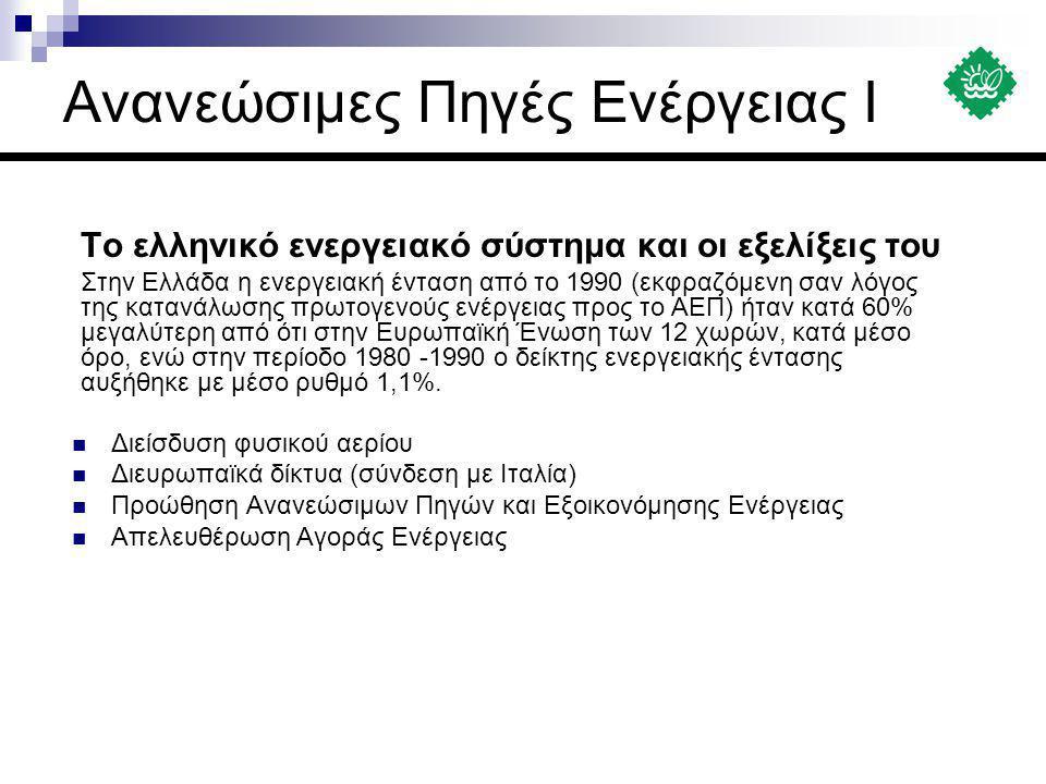 Το ελληνικό ενεργειακό σύστημα και οι εξελίξεις του Στην Ελλάδα η ενεργειακή ένταση από το 1990 (εκφραζόμενη σαν λόγος της κατανάλωσης πρωτογενούς ενέ