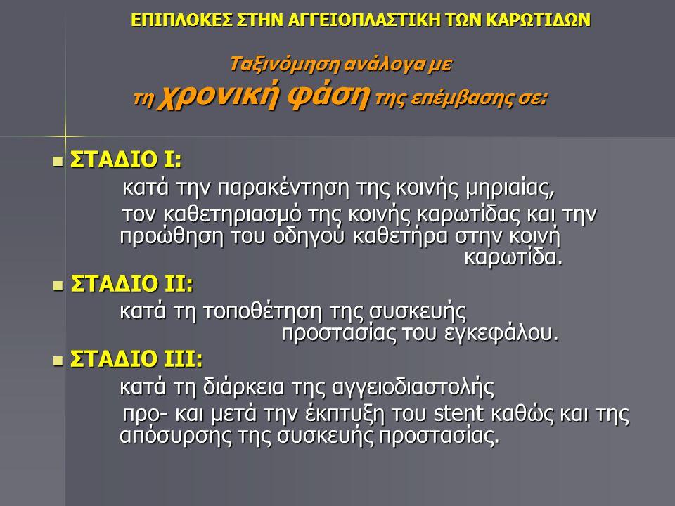 Διακρίνονται σε: ΝΕΥΡΟΛΟΓΙΚΕΣ:  Παροδικά Ισχαιμικά Επεισόδια (ΠΙΕ - TIAs): Νευρολογικό έλλειμμα (όρασης, λόγου, αισθητικό/κινητικό) που διαρκεί ως 24 ώρες.