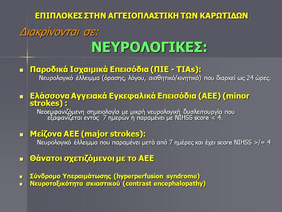 Διακρίνονται σε: & ΜΗ ΝΕΥΡΟΛΟΓΙΚΕΣ:  Επιπλοκές από την παρακέντηση: Αιμορραγία (αιμάτωμα-ψευδοανεύρυσμα), λοίμωξη, δερματίτιδα από το ειδικό Αιμορραγία (αιμάτωμα-ψευδοανεύρυσμα), λοίμωξη, δερματίτιδα από το ειδικό επιδεσμικό υλικό επιδεσμικό υλικό  Βλάβες από την προώθηση των υλικών: διαχωρισμός – ρήξη αρτηρίας, σπασμός καρωτίδων, ρήξη σπλάγχνων.
