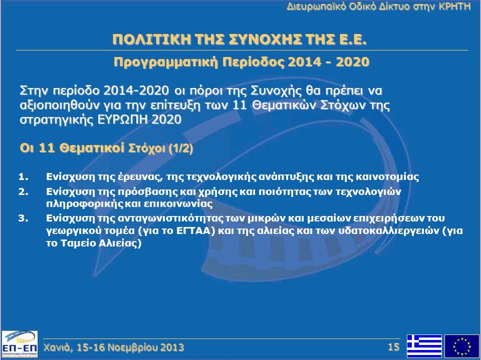 Χανιά, 15-16 Νοεμβρίου 2013 Διευρωπαϊκό Οδικό Δίκτυο στην ΚΡΗΤΗ 1.Ενίσχυση της έρευνας, της τεχνολογικής ανάπτυξης και της καινοτομίας 2.Ενίσχυση της