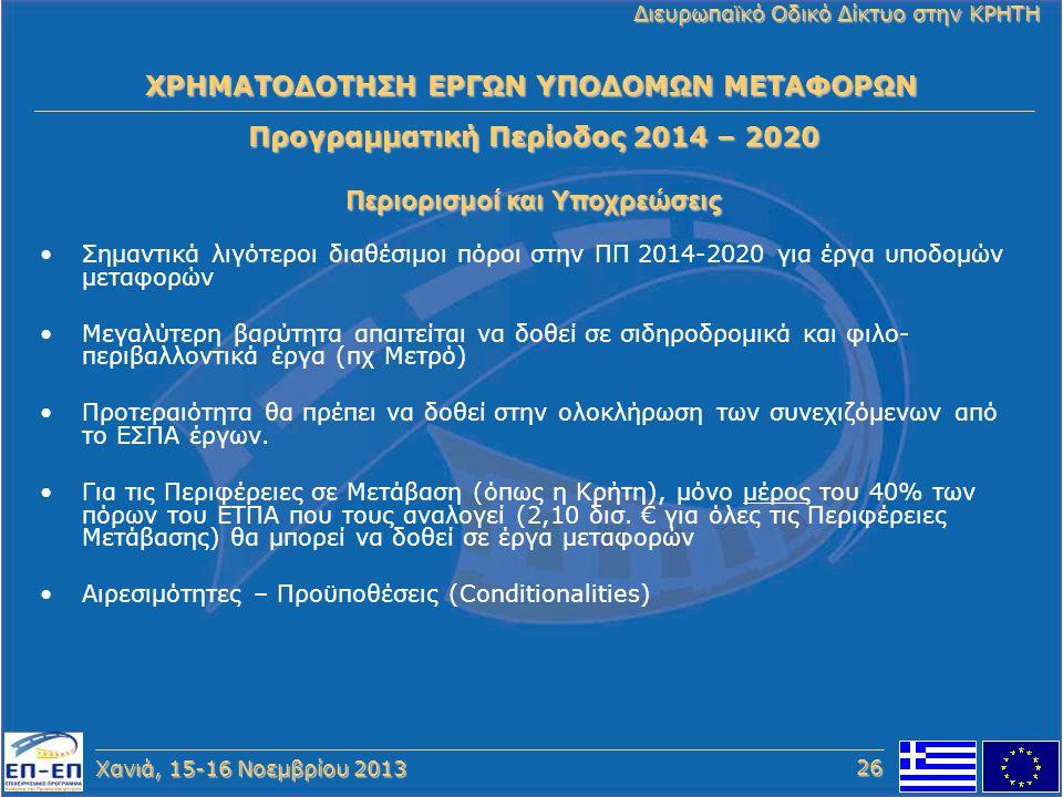 Χανιά, 15-16 Νοεμβρίου 2013 Διευρωπαϊκό Οδικό Δίκτυο στην ΚΡΗΤΗ Προγραμματική Περίοδος 2014 – 2020 Περιορισμοί και Υποχρεώσεις ΧΡΗΜΑΤΟΔΟΤΗΣΗ ΕΡΓΩΝ ΥΠΟ