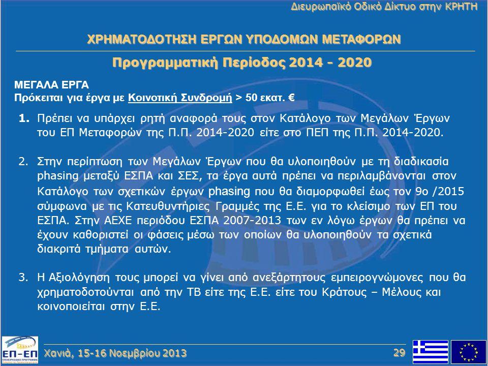 Χανιά, 15-16 Νοεμβρίου 2013 Διευρωπαϊκό Οδικό Δίκτυο στην ΚΡΗΤΗ Προγραμματική Περίοδος 2014 - 2020 1.Πρέπει να υπάρχει ρητή αναφορά τους στον Κατάλογο