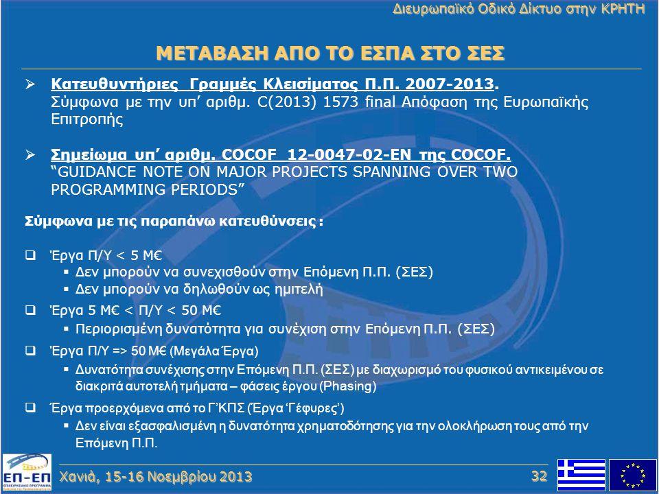Χανιά, 15-16 Νοεμβρίου 2013 Διευρωπαϊκό Οδικό Δίκτυο στην ΚΡΗΤΗ  Κατευθυντήριες Γραμμές Κλεισίματος Π.Π. 2007-2013. Σύμφωνα με την υπ' αριθμ. C(2013)