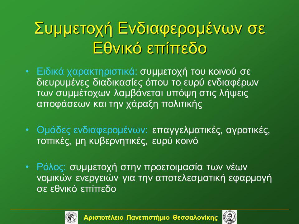 Αριστοτέλειο Πανεπιστήμιο Θεσσαλονίκης •Ειδικά χαρακτηριστικά: συμμετοχή του κοινού σε διευρυμένες διαδικασίες όπου το ευρύ ενδιαφέρων των συμμέτοχων