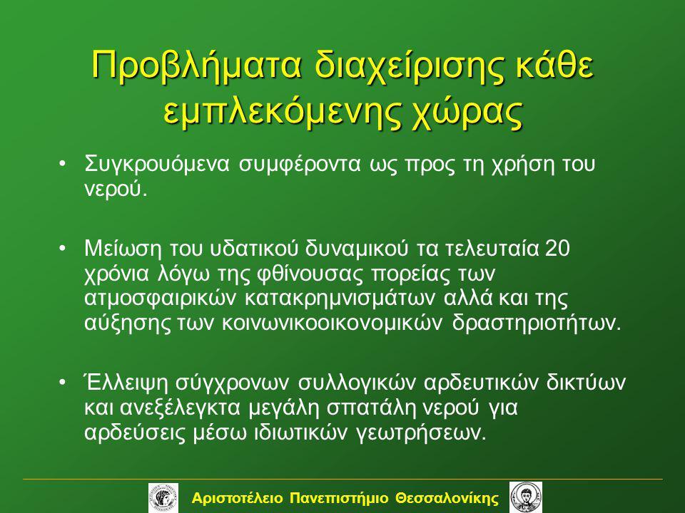 Αριστοτέλειο Πανεπιστήμιο Θεσσαλονίκης Προβλήματα διαχείρισης κάθε εμπλεκόμενης χώρας •Συγκρουόμενα συμφέροντα ως προς τη χρήση του νερού. •Μείωση του