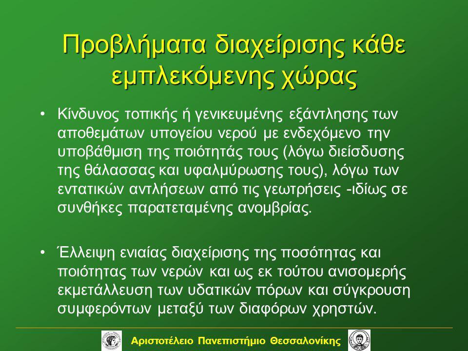 Αριστοτέλειο Πανεπιστήμιο Θεσσαλονίκης Προβλήματα διαχείρισης κάθε εμπλεκόμενης χώρας •Κίνδυνος τοπικής ή γενικευμένης εξάντλησης των αποθεμάτων υπογε