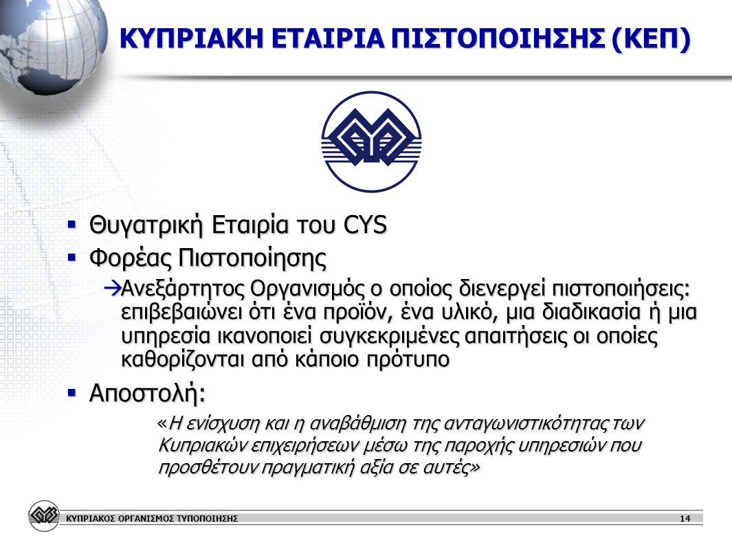 ΚΥΠΡΙΑΚΟΣ ΟΡΓΑΝΙΣΜΟΣ ΤΥΠΟΠΟΙΗΣΗΣ 14 ΚΥΠΡΙΑΚΗ ΕΤΑΙΡΙΑ ΠΙΣΤΟΠΟΙΗΣΗΣ (ΚΕΠ)  Θυγατρική Εταιρία του CYS  Φορέας Πιστοποίησης  Ανεξάρτητος Οργανισμός ο οποίος διενεργεί πιστοποιήσεις: επιβεβαιώνει ότι ένα προϊόν, ένα υλικό, μια διαδικασία ή μια υπηρεσία ικανοποιεί συγκεκριμένες απαιτήσεις οι οποίες καθορίζονται από κάποιο πρότυπο  Αποστολή: «Η ενίσχυση και η αναβάθμιση της ανταγωνιστικότητας των Κυπριακών επιχειρήσεων μέσω της παροχής υπηρεσιών που προσθέτουν πραγματική αξία σε αυτές» «Η ενίσχυση και η αναβάθμιση της ανταγωνιστικότητας των Κυπριακών επιχειρήσεων μέσω της παροχής υπηρεσιών που προσθέτουν πραγματική αξία σε αυτές»