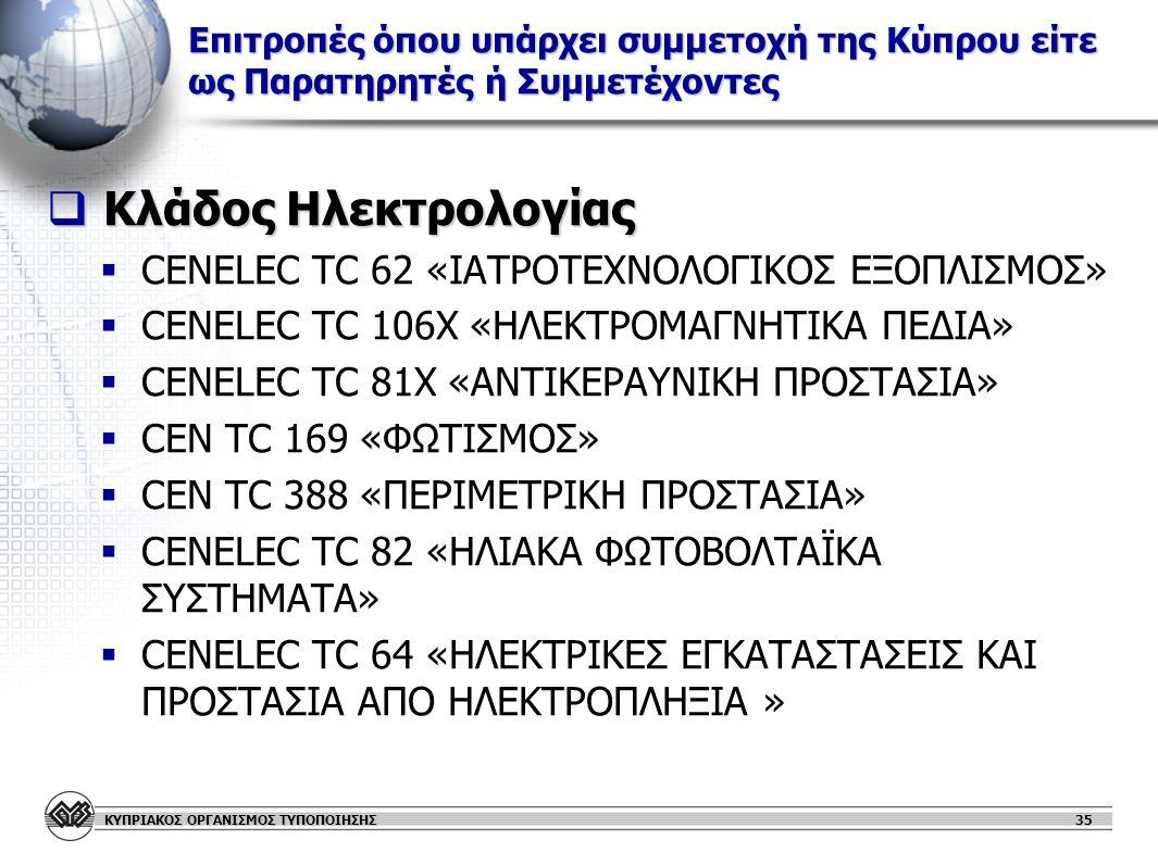 ΚΥΠΡΙΑΚΟΣ ΟΡΓΑΝΙΣΜΟΣ ΤΥΠΟΠΟΙΗΣΗΣ Επιτροπές όπου υπάρχει συμμετοχή της Κύπρου είτε ως Παρατηρητές ή Συμμετέχοντες  Κλάδος Ηλεκτρολογίας   CENELEC TC 62 «ΙΑΤΡΟΤΕΧΝΟΛΟΓΙΚΟΣ ΕΞΟΠΛΙΣΜΟΣ»   CENELEC TC 106Χ «ΗΛΕΚΤΡΟΜΑΓΝΗΤΙΚΑ ΠΕΔΙΑ»   CENELEC TC 81Χ «ΑΝΤΙΚΕΡΑΥΝΙΚΗ ΠΡΟΣΤΑΣΙΑ»   CEN TC 169 «ΦΩΤΙΣΜΟΣ»   CEN TC 388 «ΠΕΡΙΜΕΤΡΙΚΗ ΠΡΟΣΤΑΣΙΑ»   CENELEC TC 82 «ΗΛΙΑΚΑ ΦΩΤΟΒΟΛΤΑΪΚΑ ΣΥΣΤΗΜΑΤΑ»   CENELEC TC 64 «ΗΛΕΚΤΡΙΚΕΣ ΕΓΚΑΤΑΣΤΑΣΕΙΣ ΚΑΙ ΠΡΟΣΤΑΣΙΑ ΑΠΟ ΗΛΕΚΤΡΟΠΛΗΞΙΑ » 35